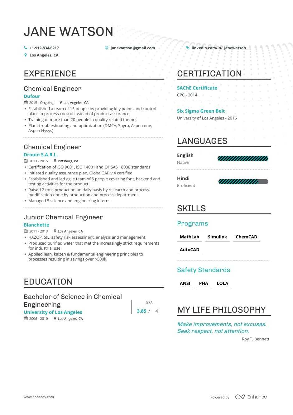 Job Winning Chemical Engineer Resume Examples Samples Tips
