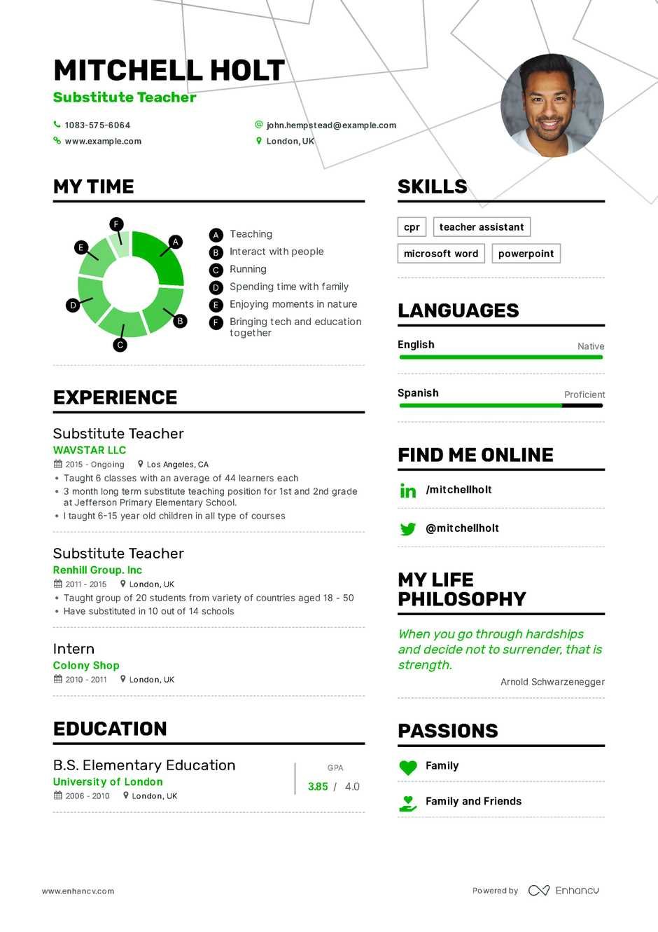 Substitute Teacher Resume Example