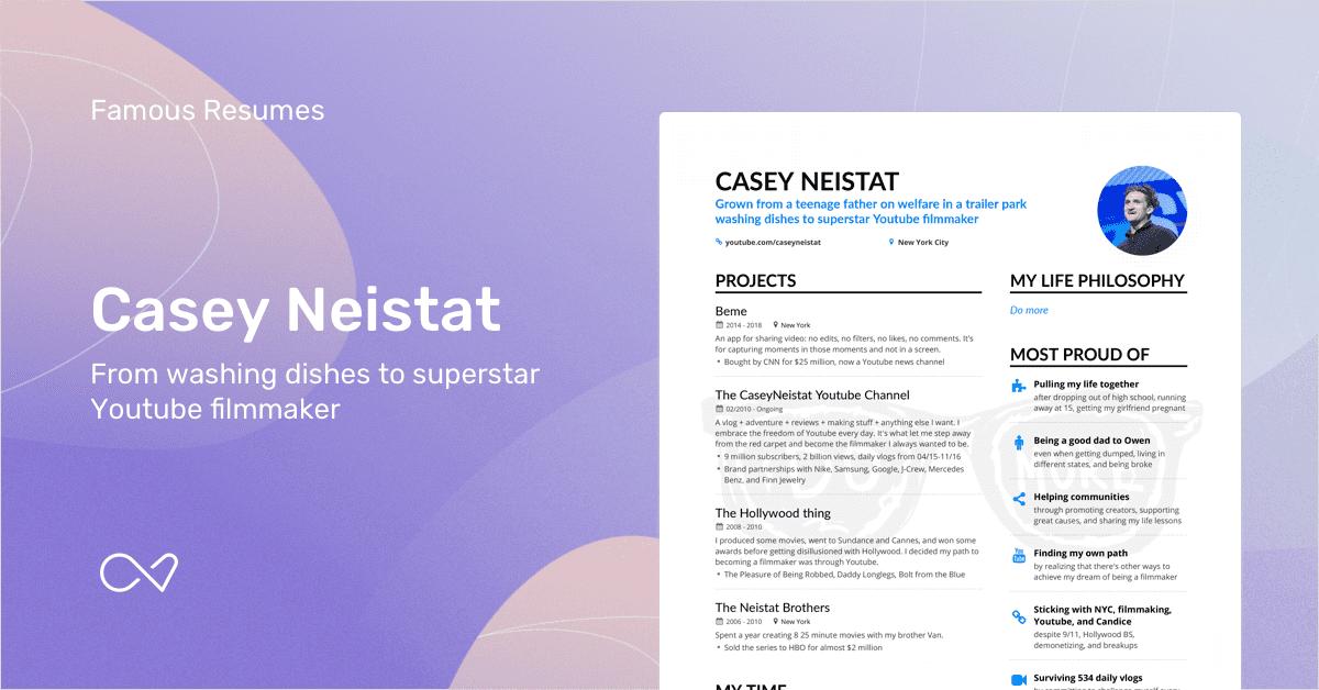 Casey Neistats Filmmaker Resume Example