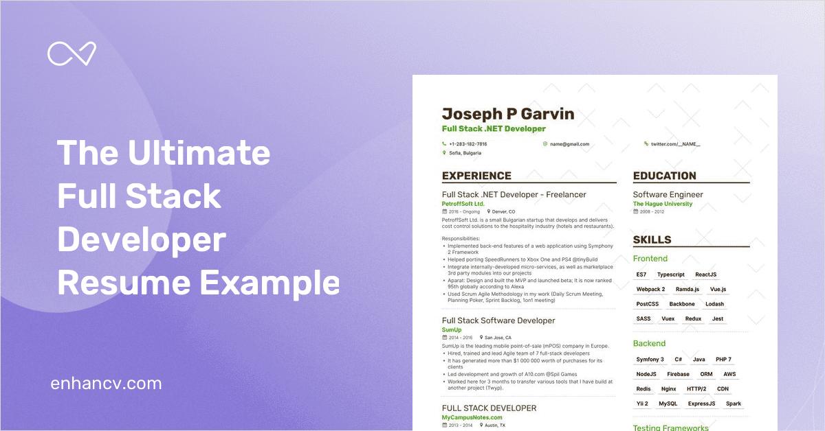 full stack developer resume example  u0026 expert tips