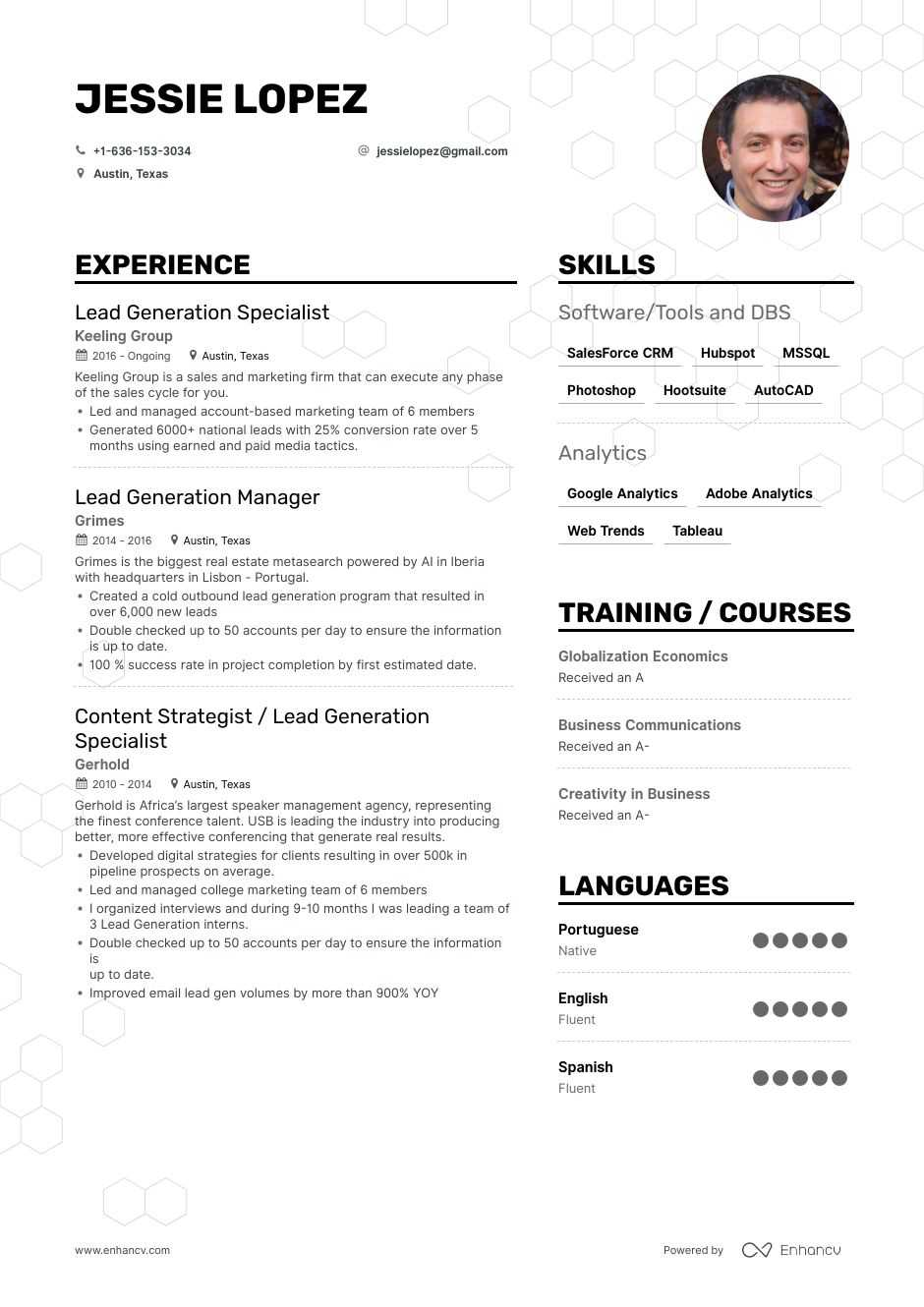 lead generation resume example