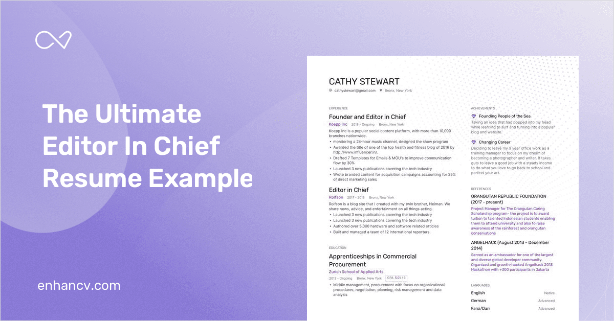 editor in chief resume example and guide for 2019