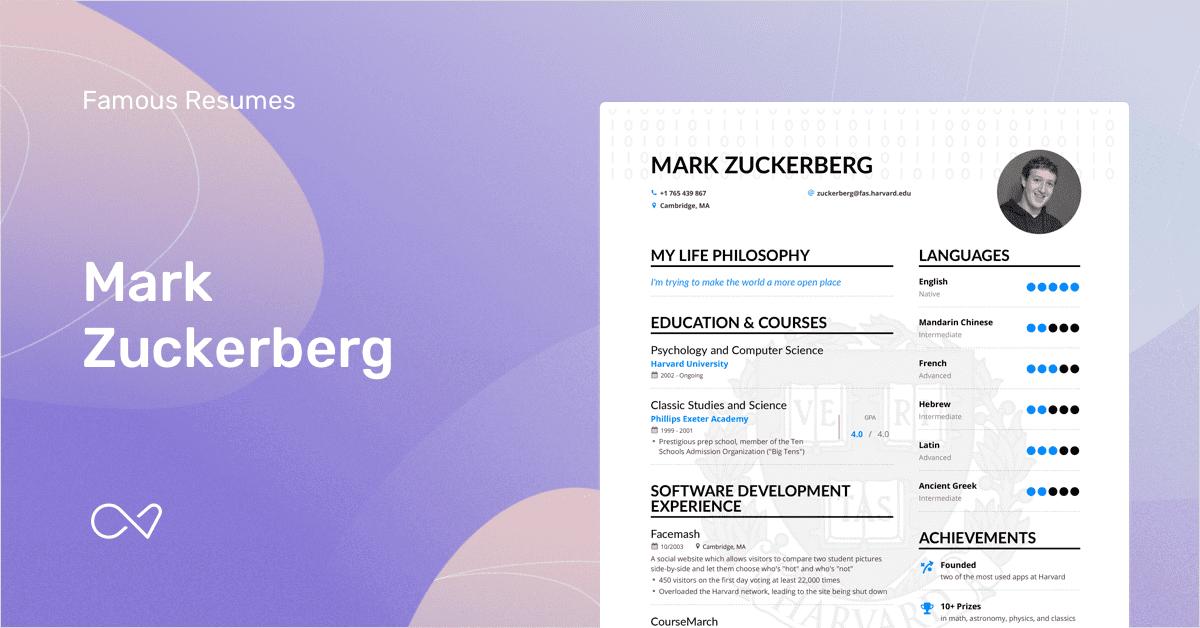 curriculum vitae mark zuckerberg