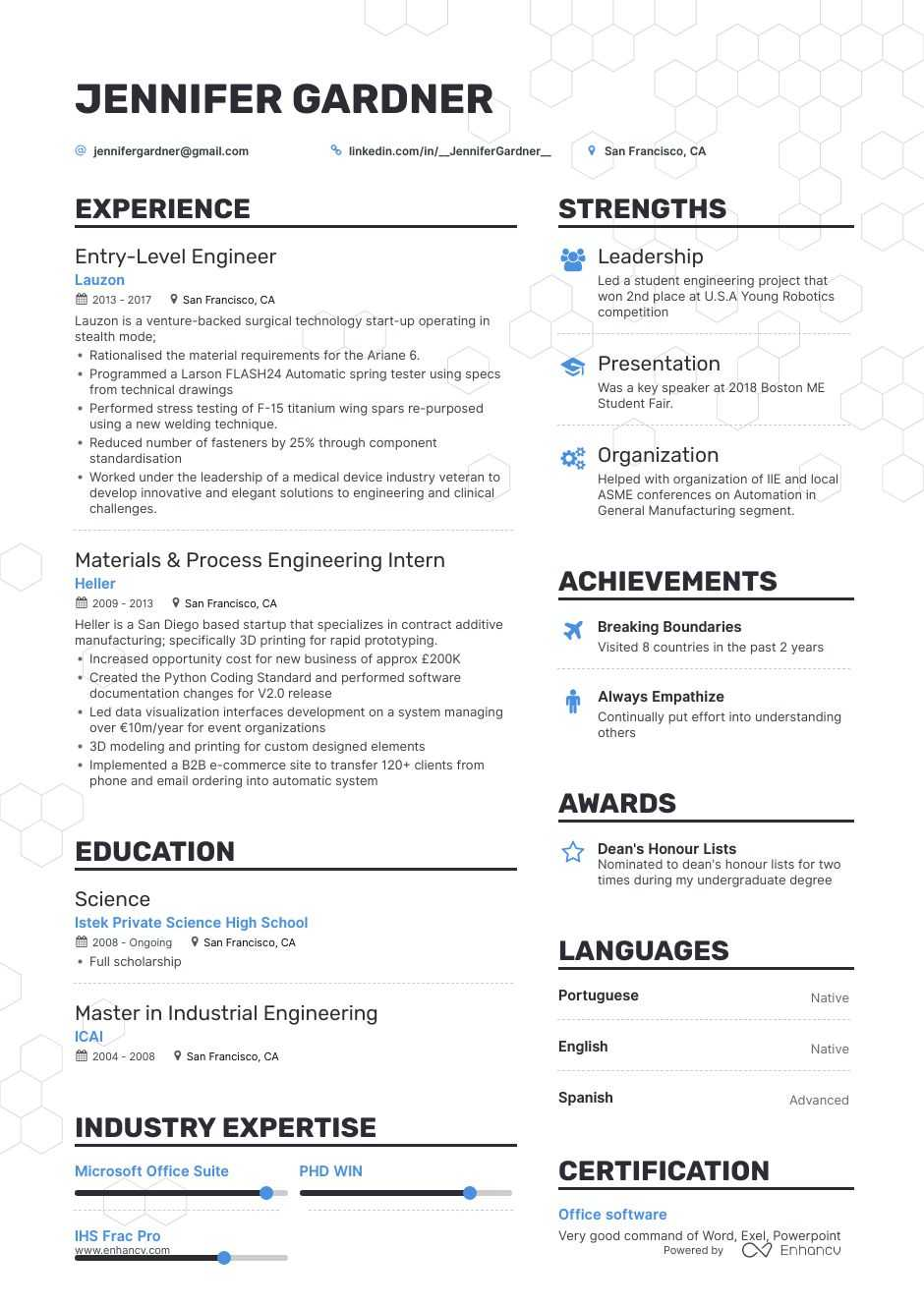 entry level engineer resume example