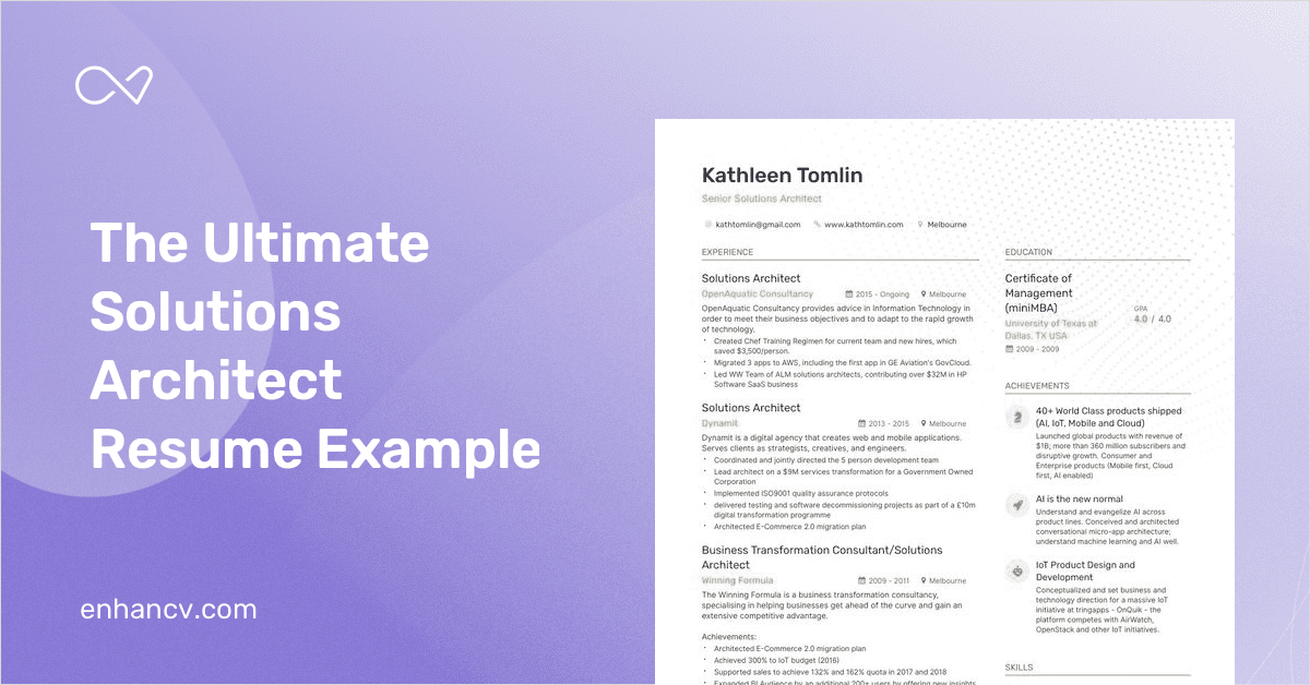 Solutions Architect Resume Samples [with 8+ examples]