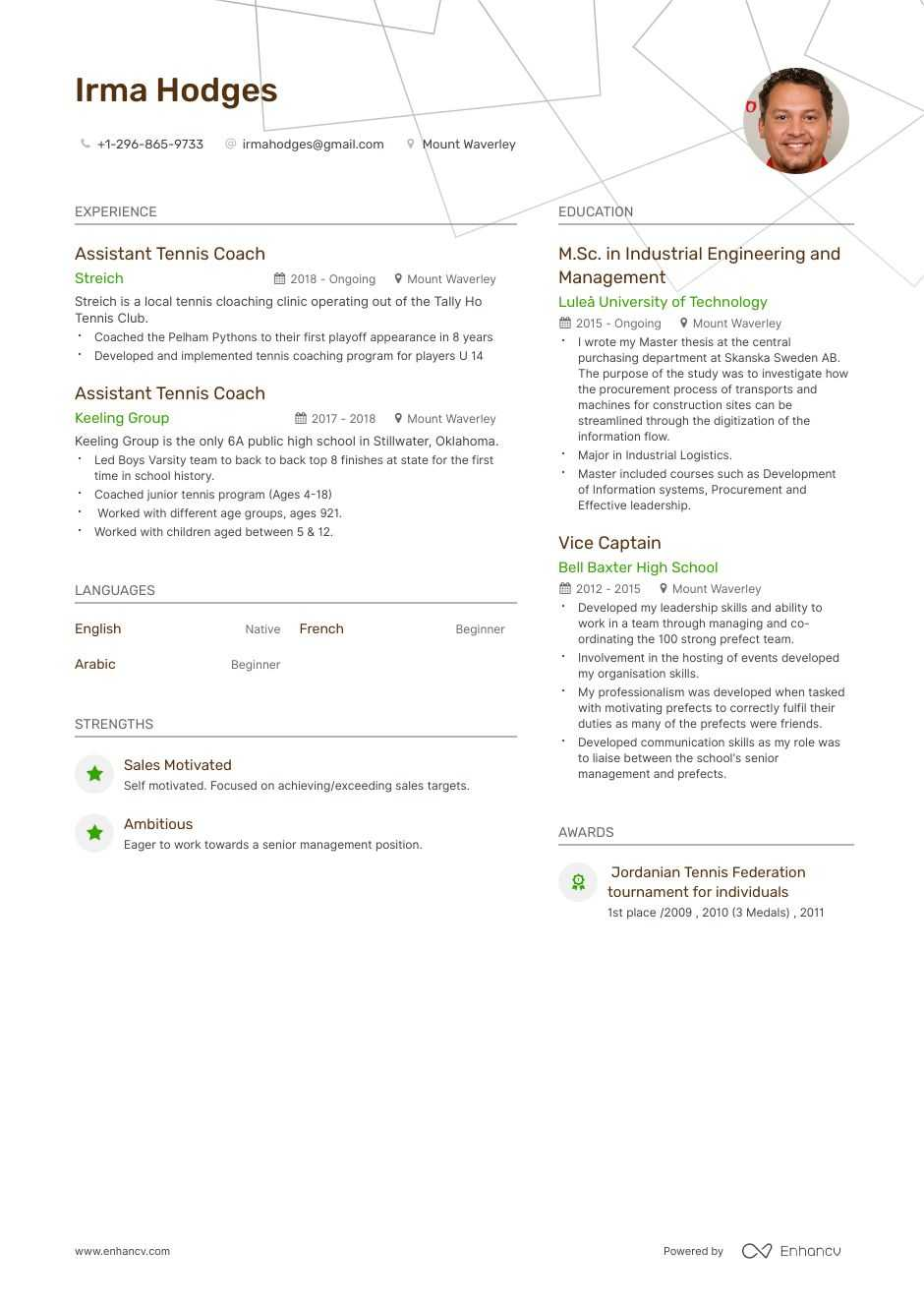 tennis coach resume example and guide for 2020