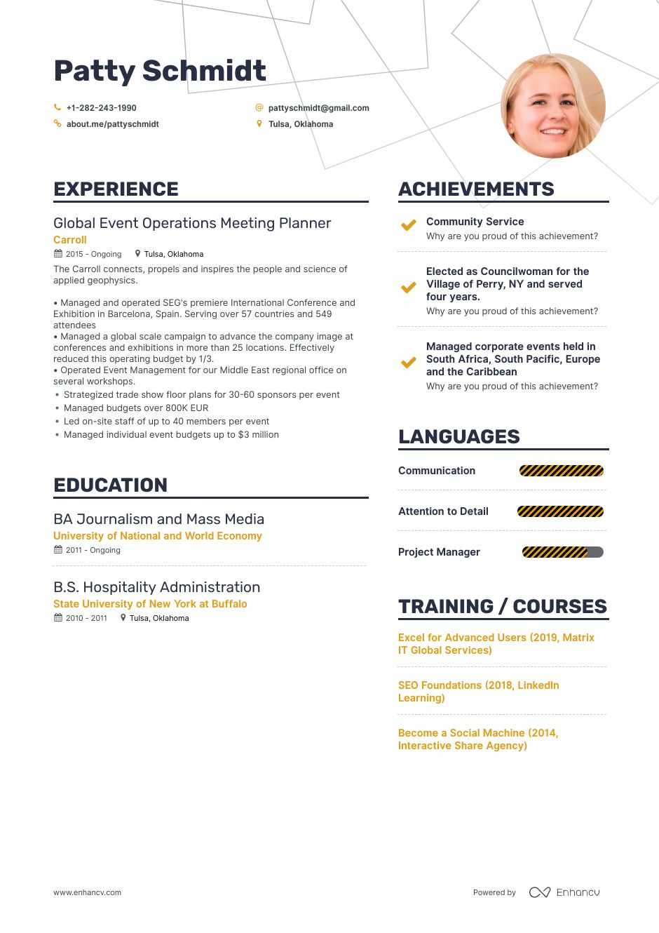meeting planner resume example