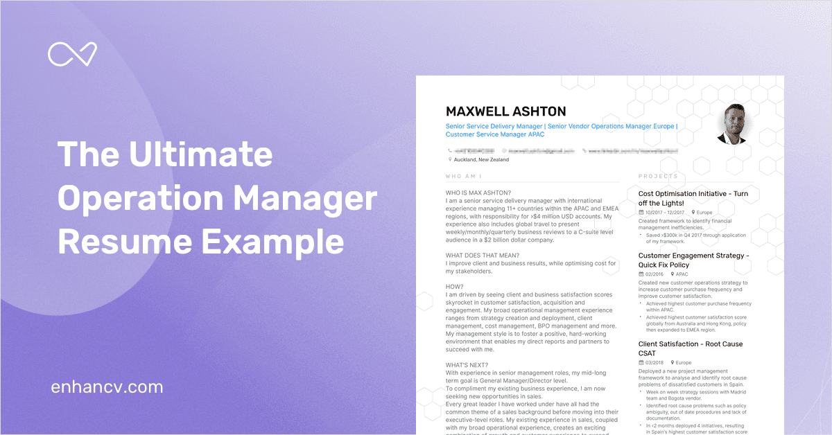 Operations Manager Resume Example And Guide For 2019
