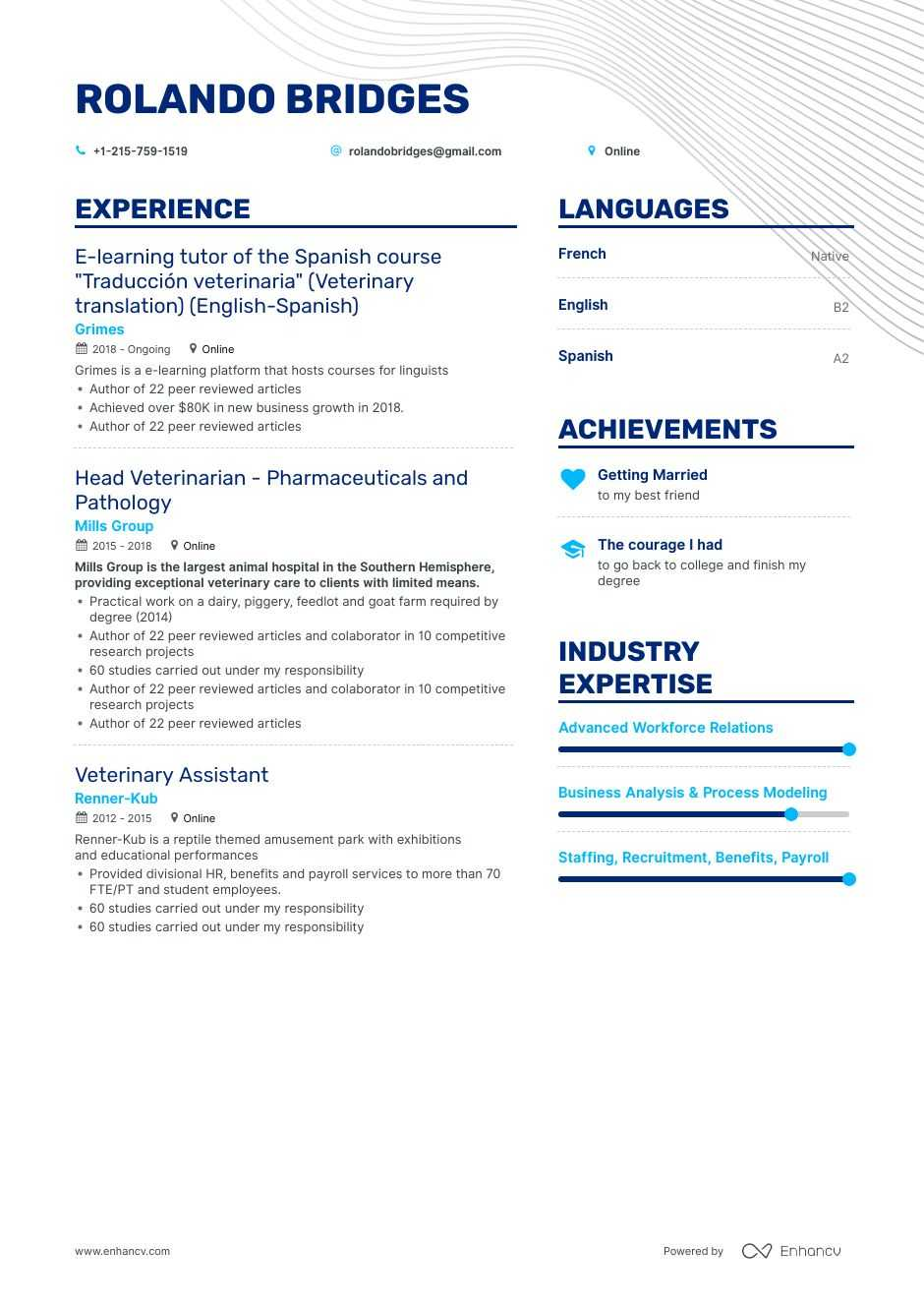 veterinar resume example
