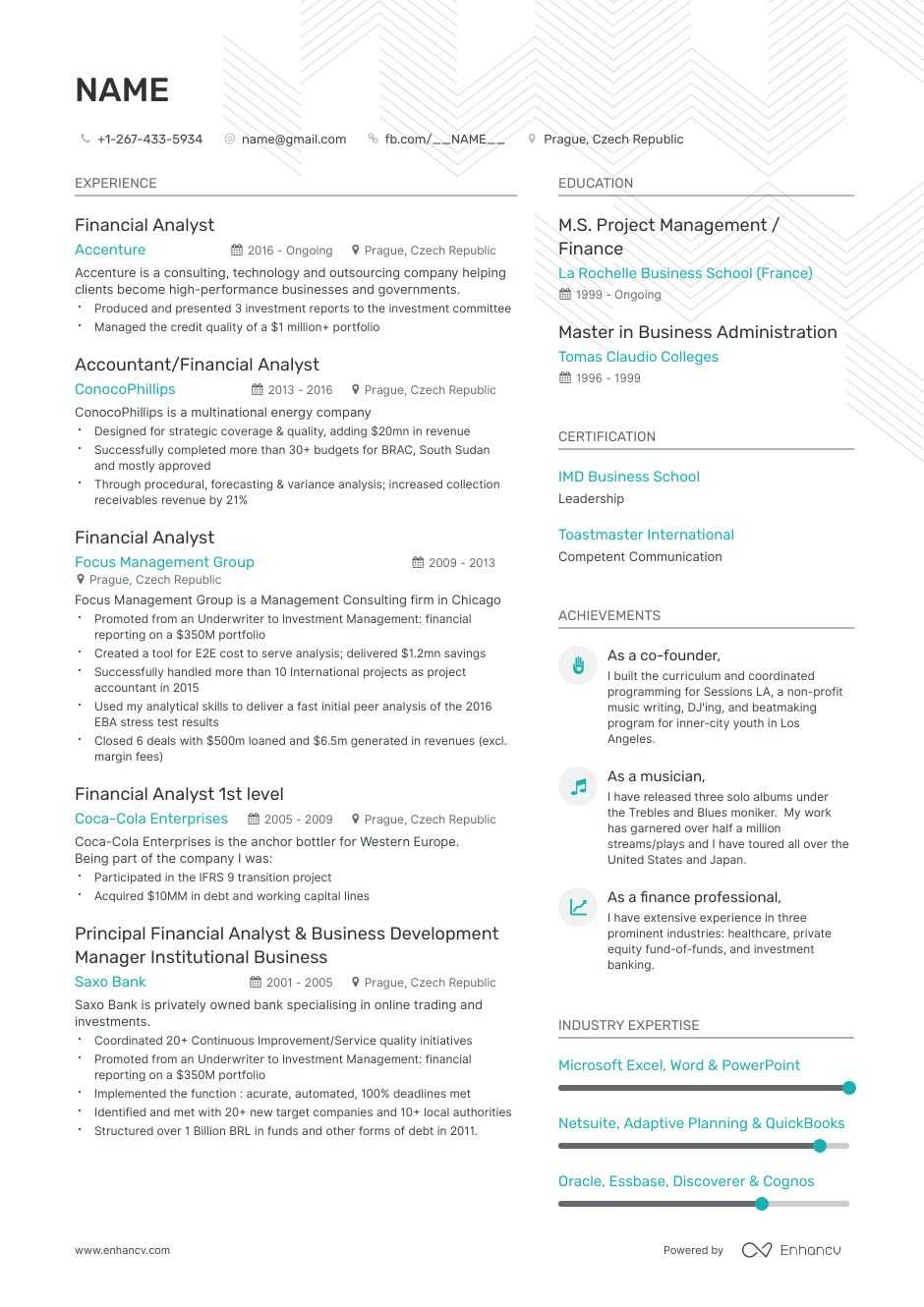 entry-level financial analyst resume example