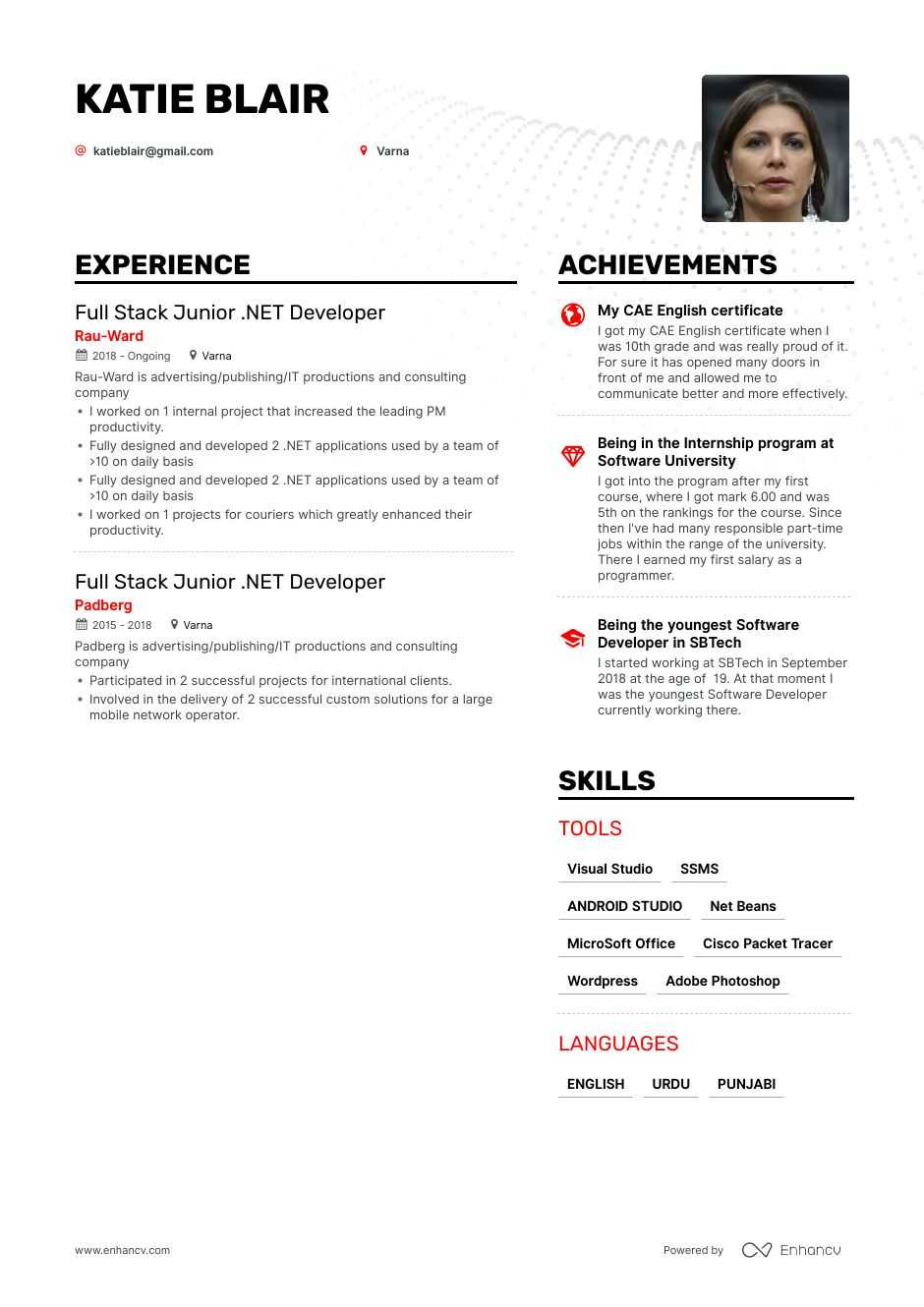 junior .net developer resume example