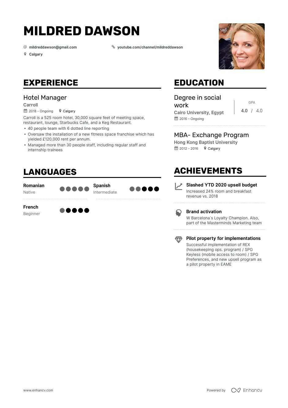 Top Hotel Manager Resume Examples & Samples for 2021 ...