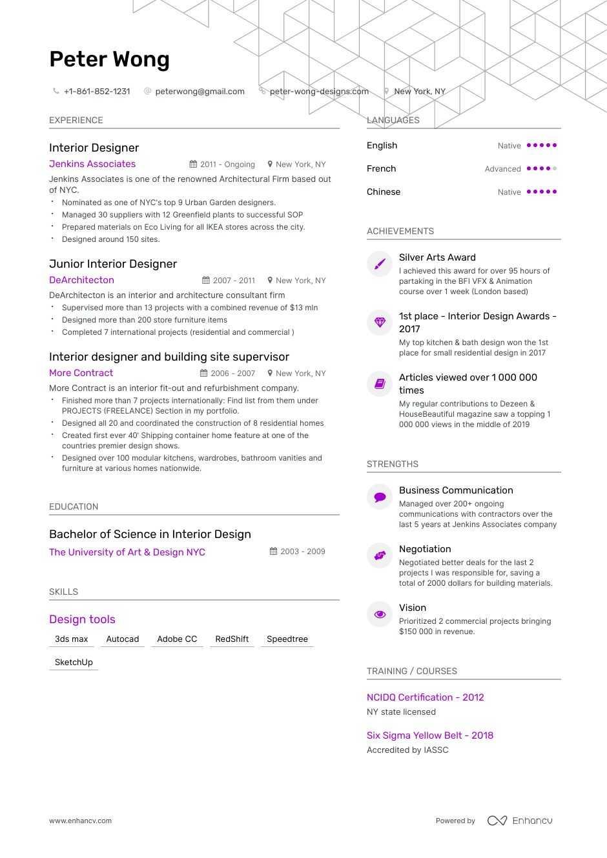 12  interior designer resume examples  u0026 samples for 2019