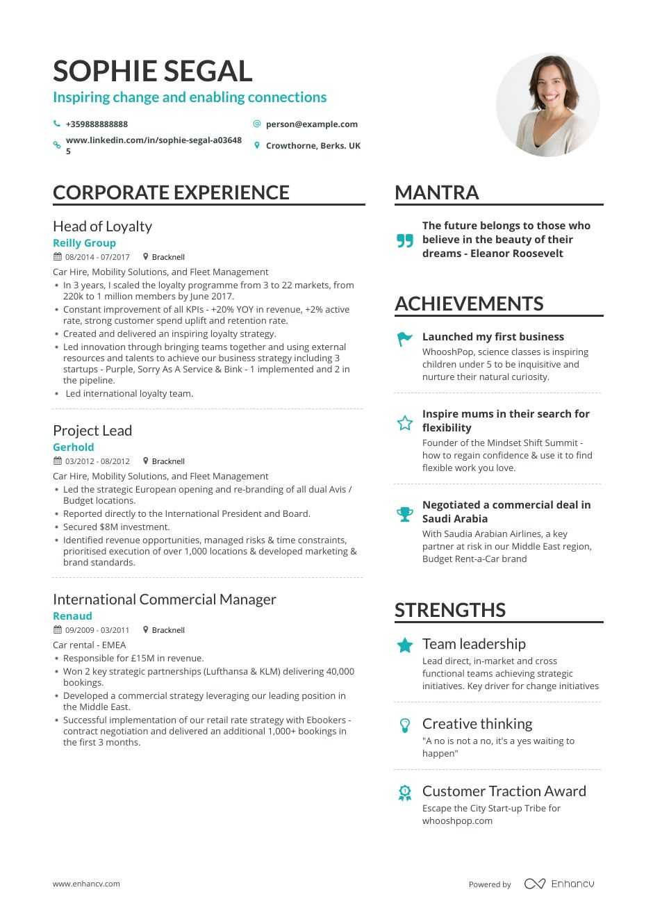 department head resume example