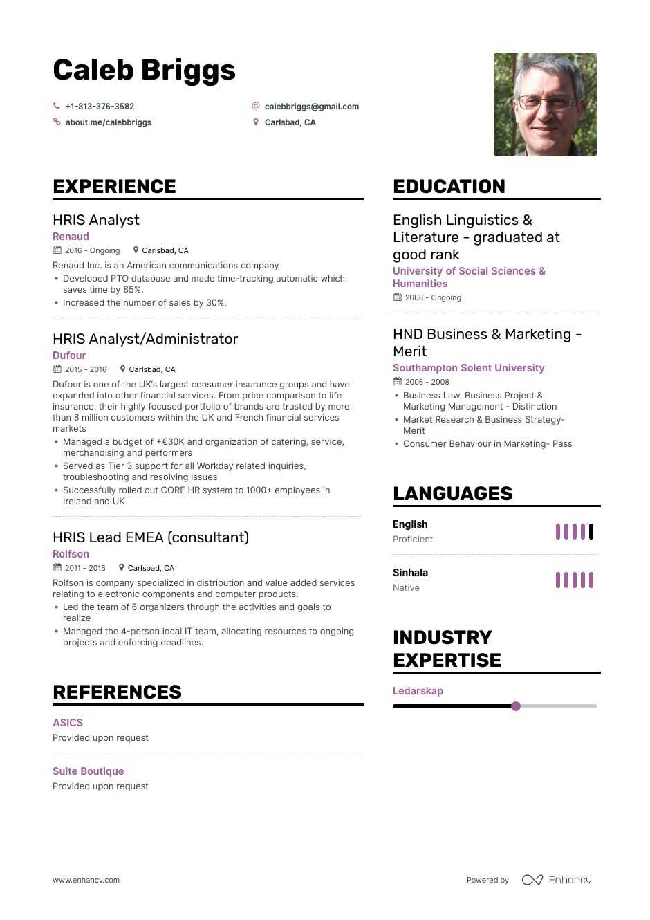 hris resume example