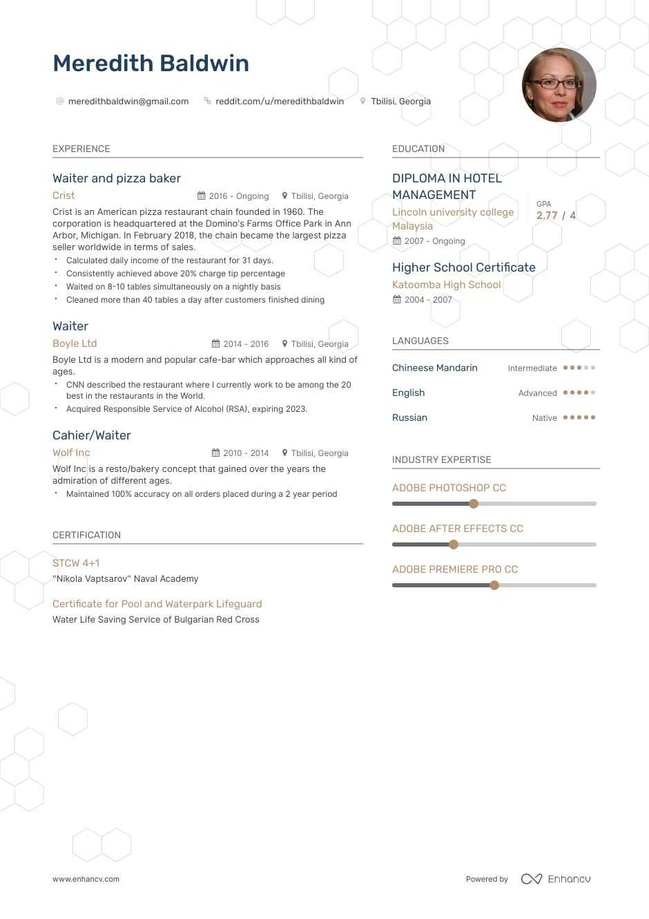 Top Waiter Resume Examples Samples For 2020 Enhancv Com