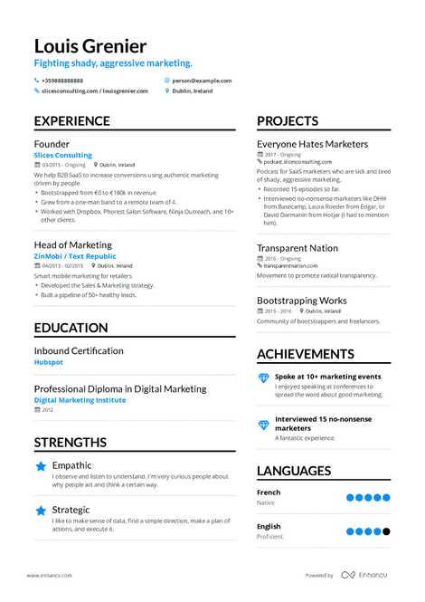 marketing consultant resume example and guide for 2019