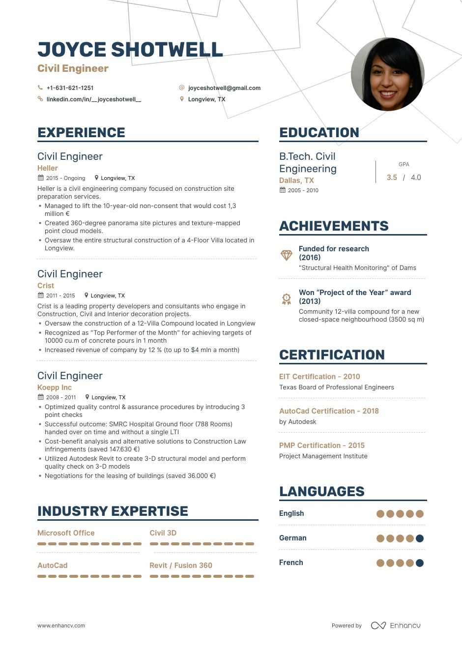 Civil Engineer Resume Examples Guide Pro Tips Enhancv