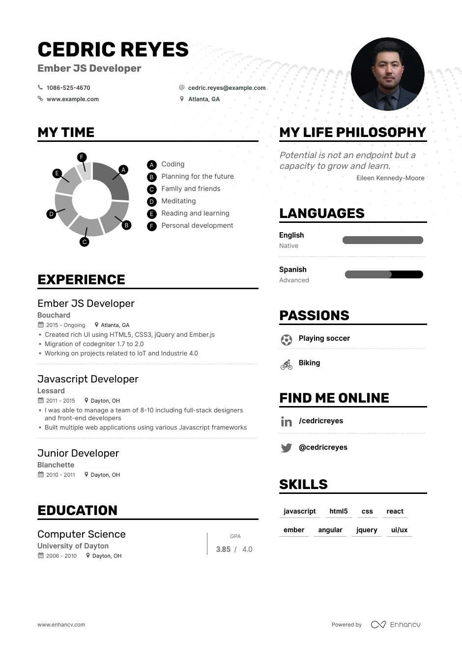 ember js developer resume example