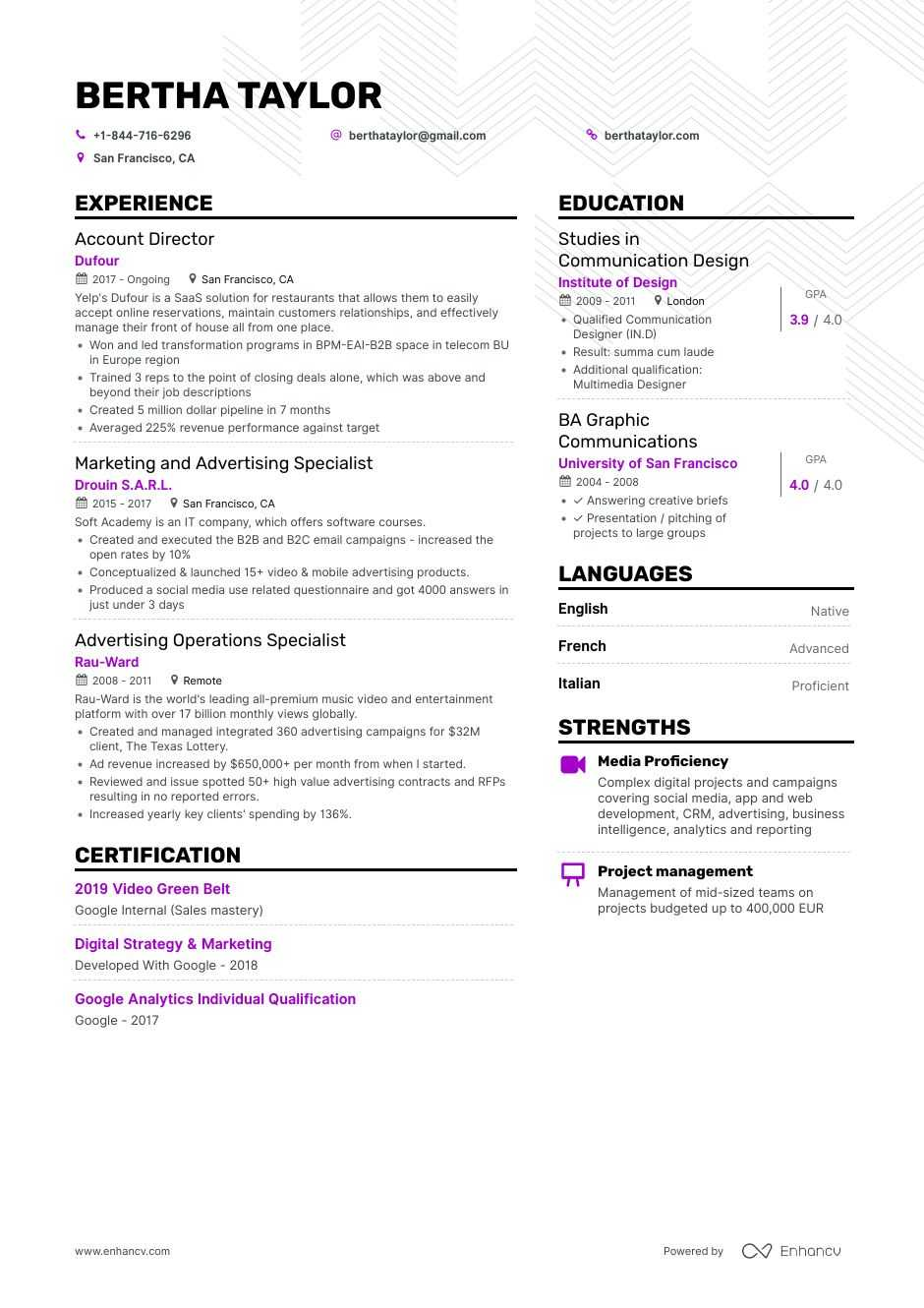 advertising resume example