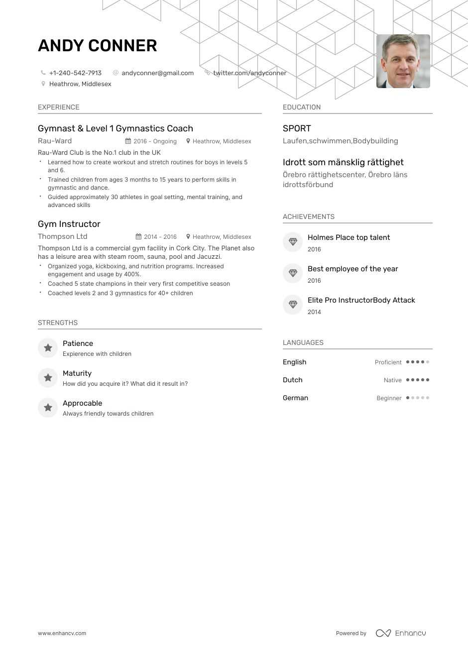 gym resume example