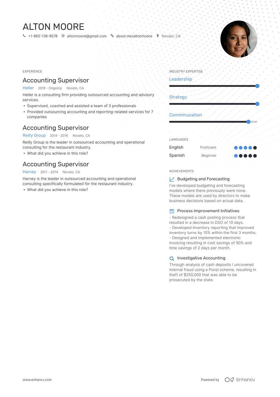accounting supervisor resume example