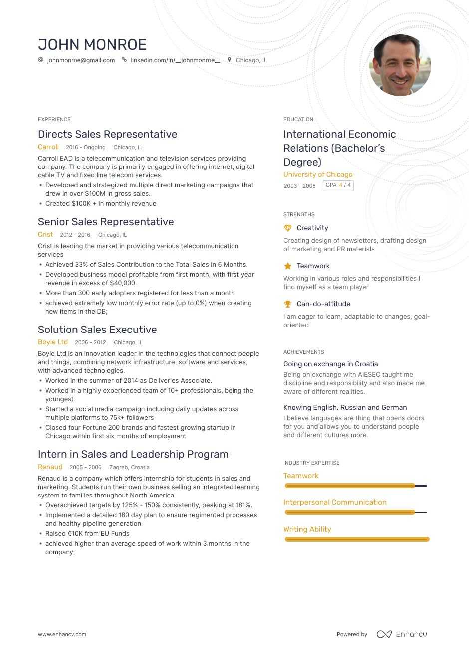 The Best Sales Representative Resume Examples Skills To Get You Hired