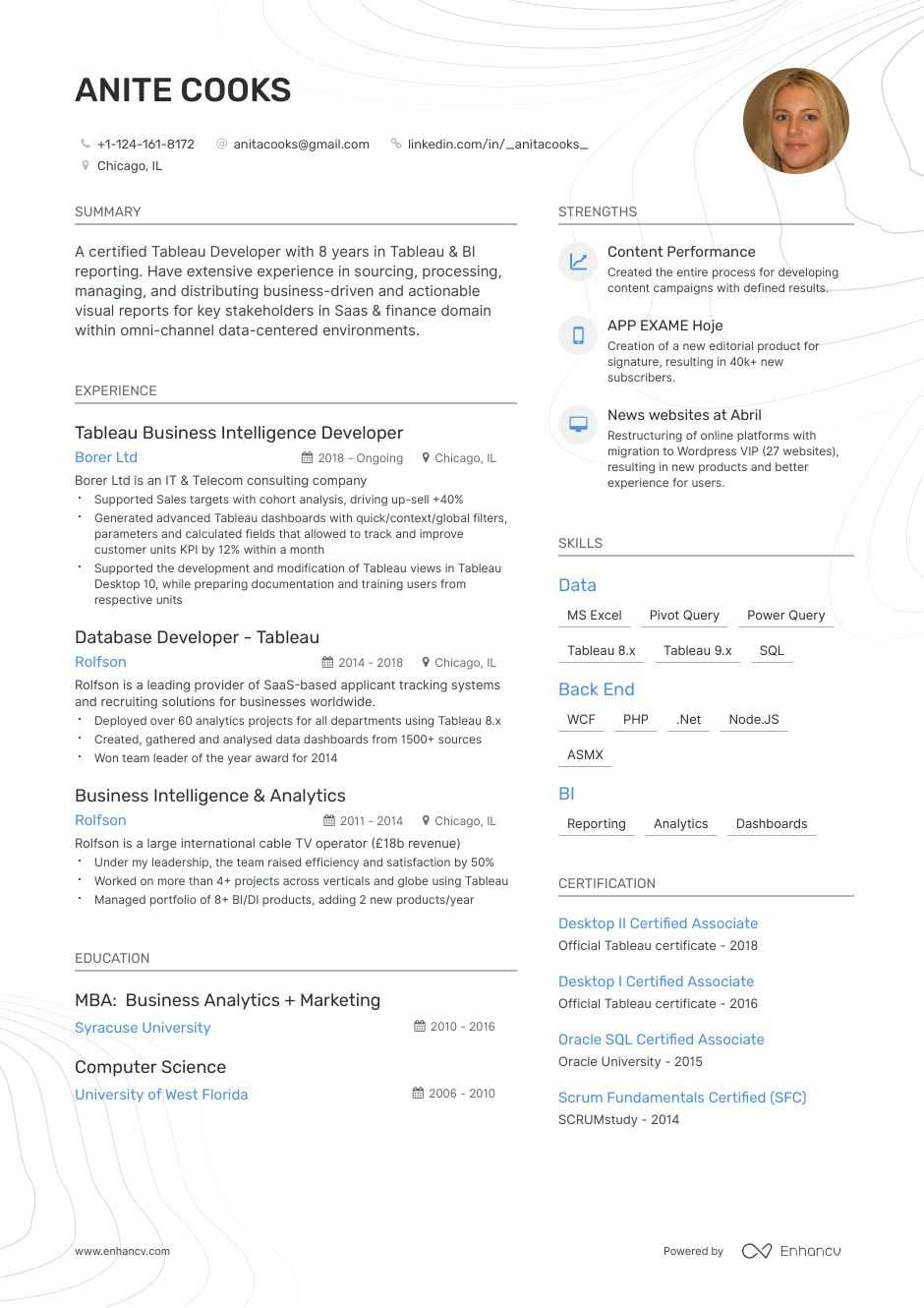 best tableau developer resume examples with objectives  skills  u0026 templates