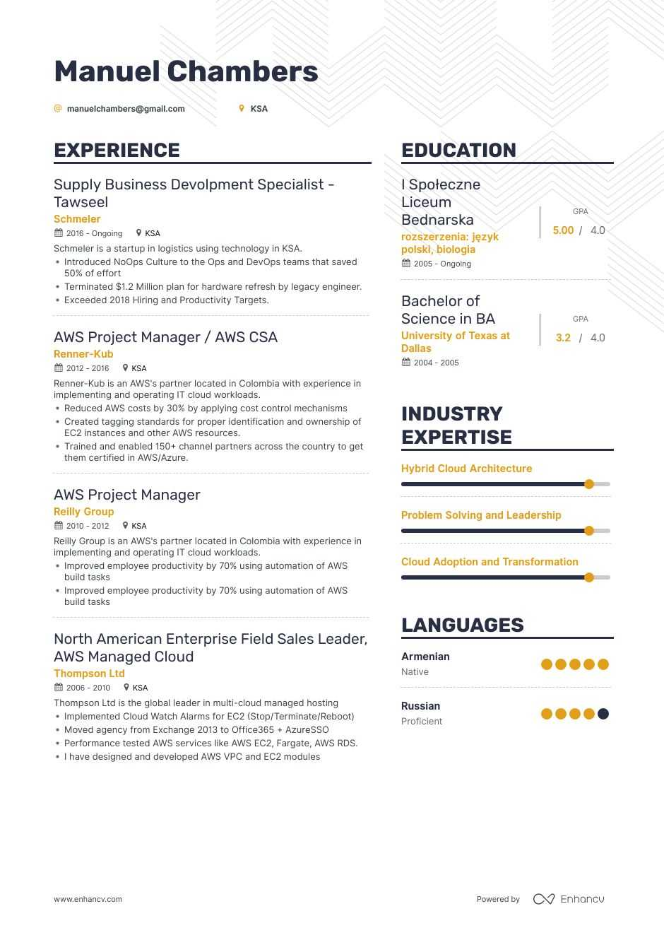 aws resume example