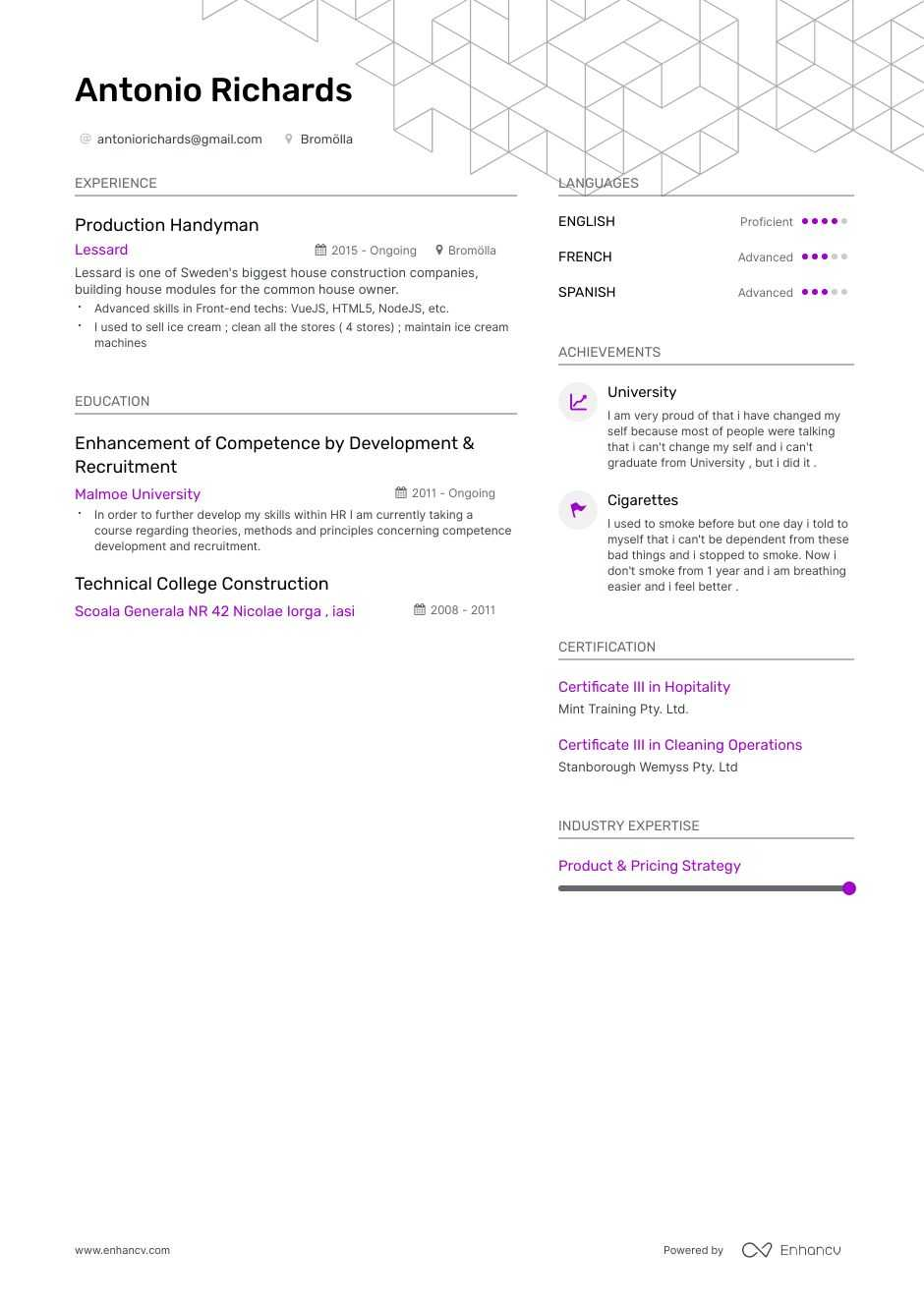handyman resume example
