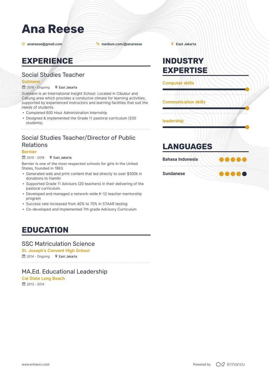 Download Social Studies Teacher Resume Example For 2020 Enhancv Com