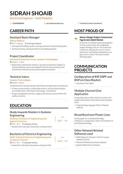 Electrical Engineering Resume 2019