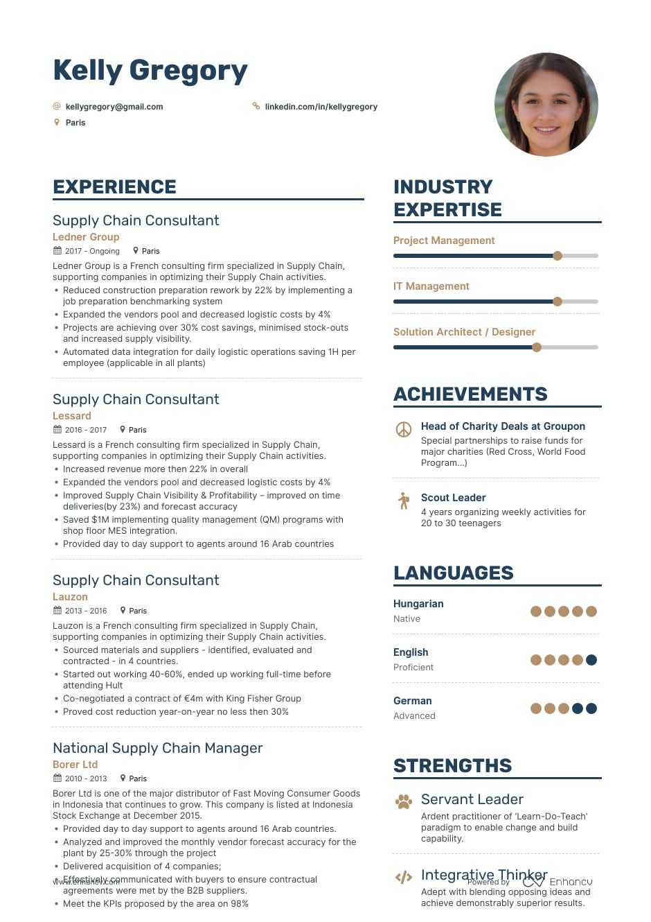 supply chain resume example