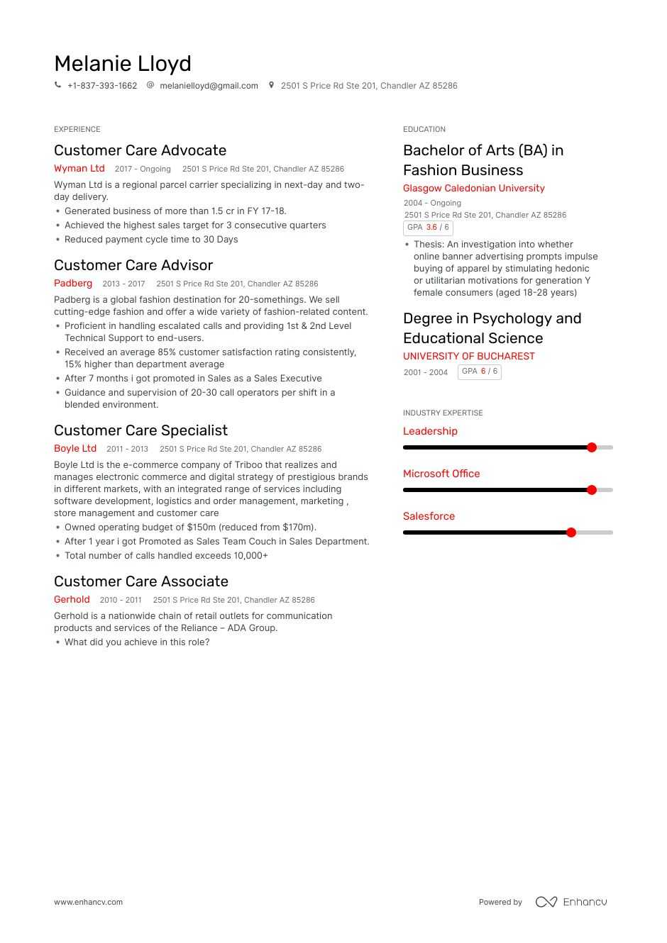 customer care resume example