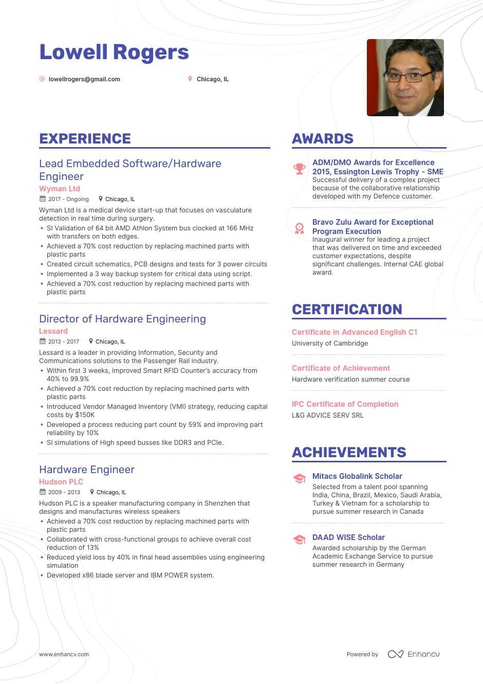 hardware engineer resume example