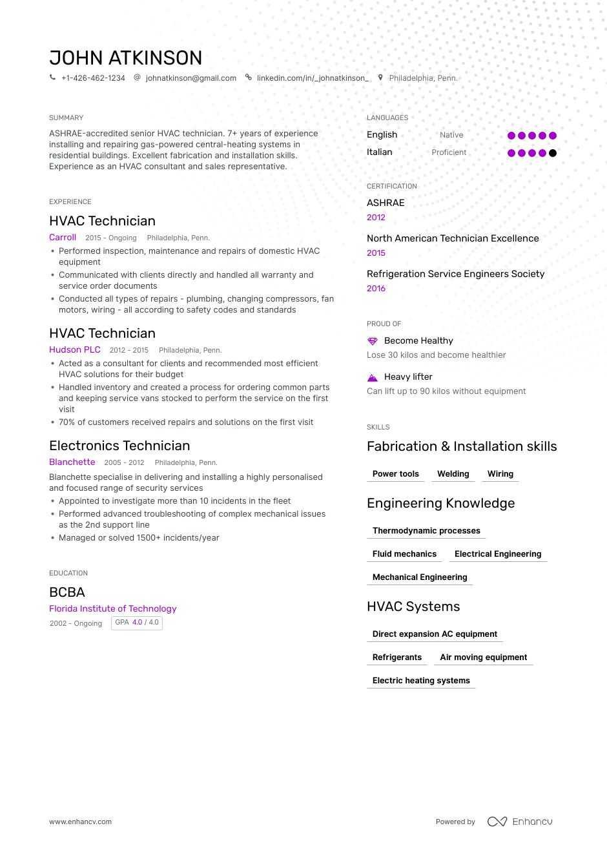 Hvac Resume Samples And Writing Guide For 2021 Enhancv Com