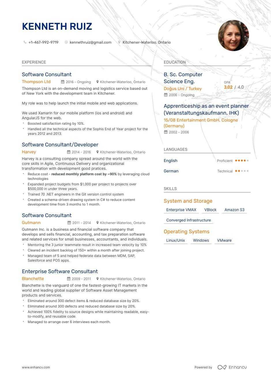 software consultant resume example