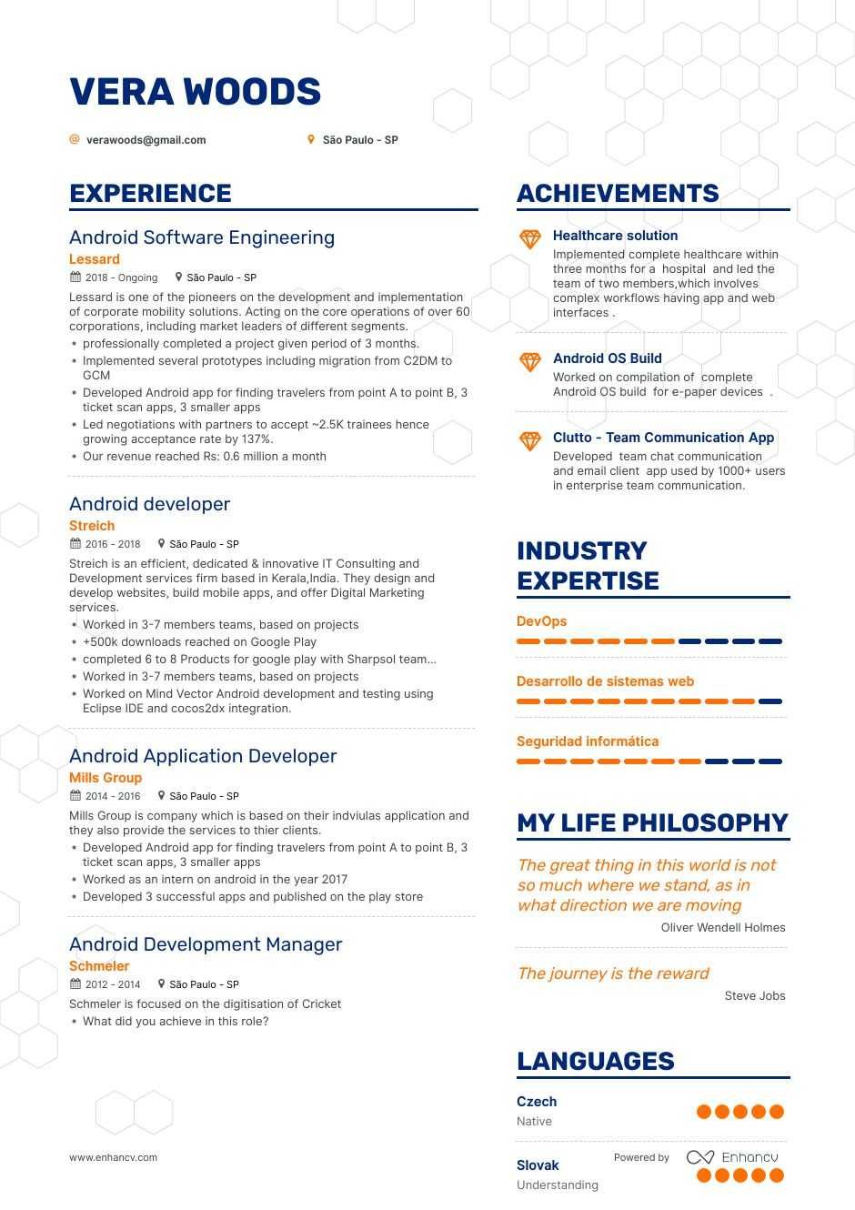 android resume example