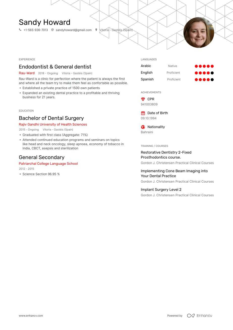 general dentist resume example