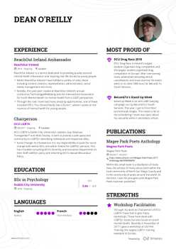Dean's resume preview