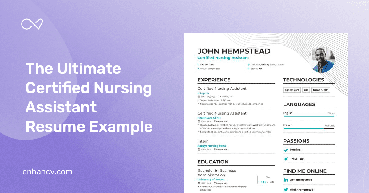 Certified Nursing Assistant Resume Example And Guide For 2019