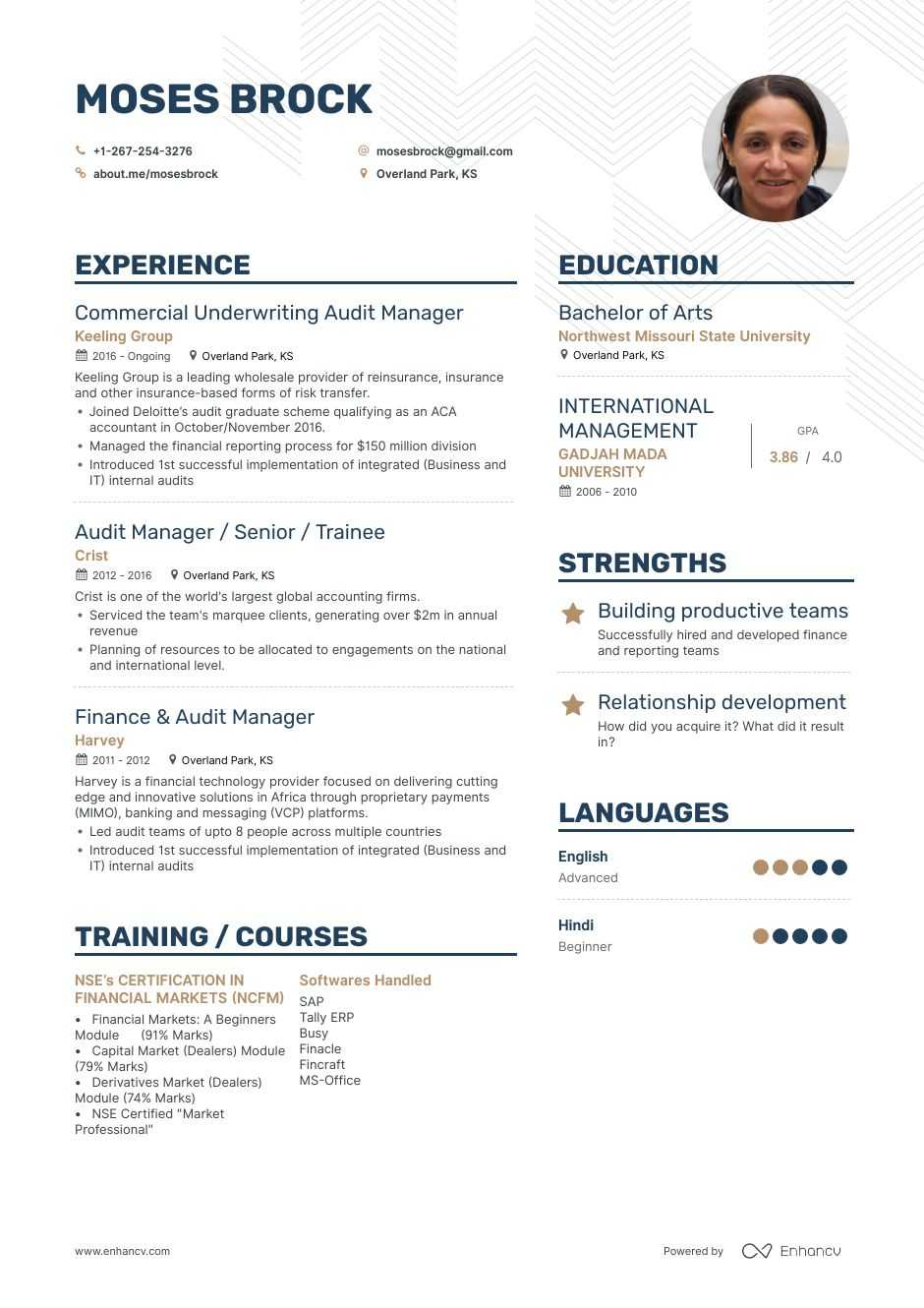 Top Audit Manager Resume Examples Samples For 2020 Enhancv Com