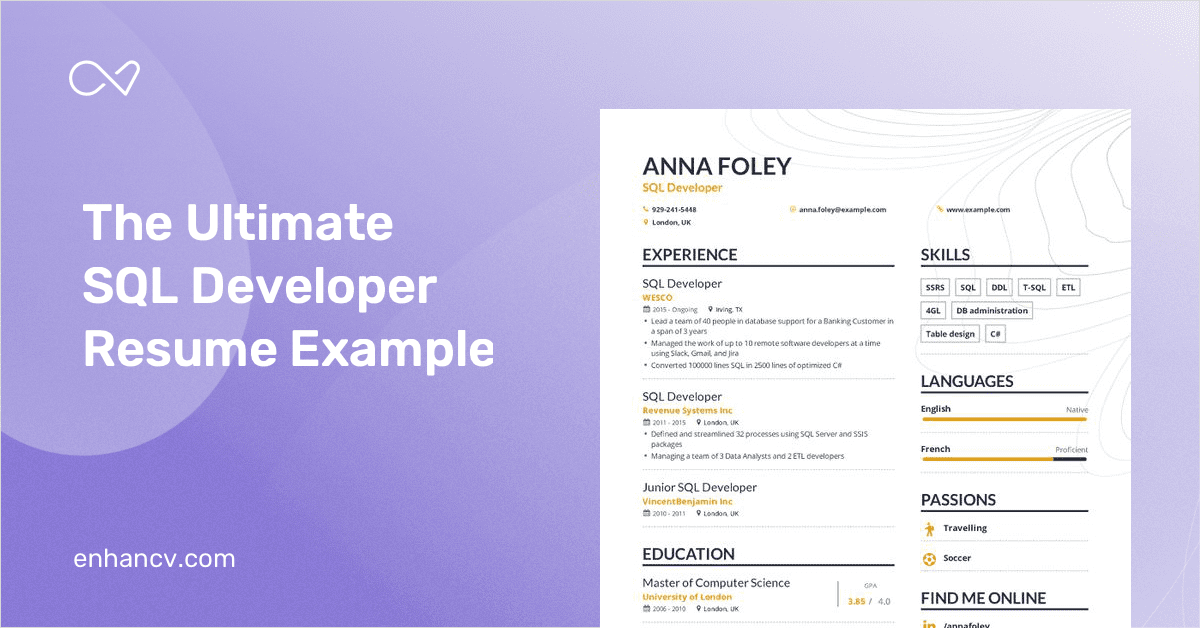 SQL Developer Resume Example and Guide for 2019