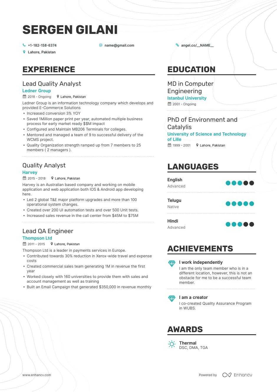 Quality Analyst Resume Samples A Step By Step Guide For 2020 Enhancv Com