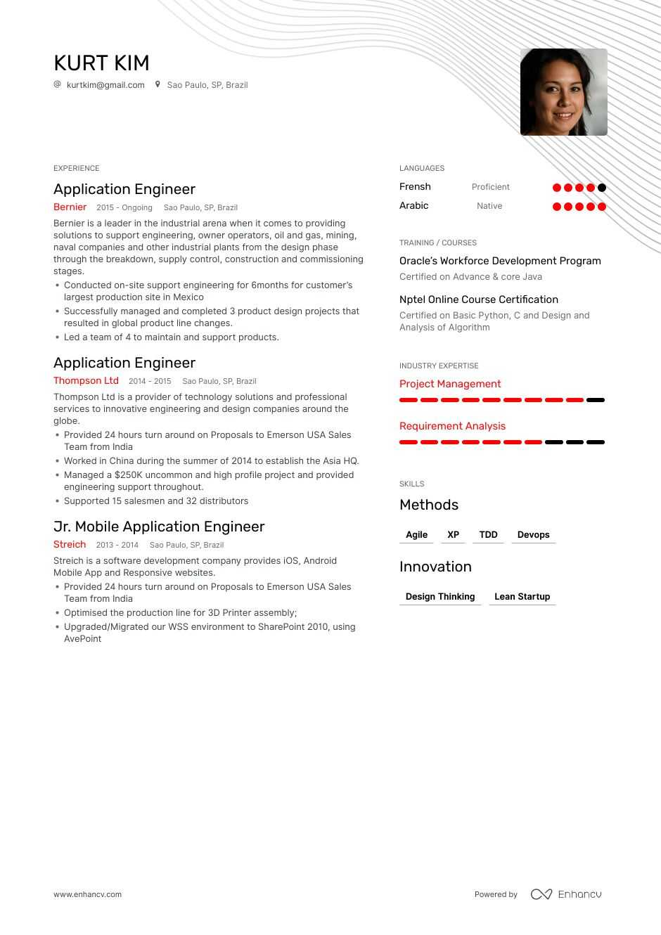 application engineer resume example