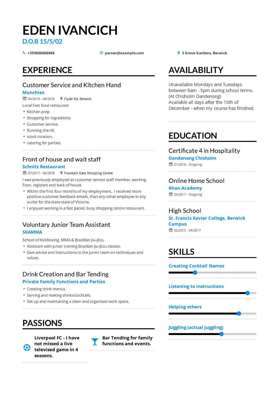 High School Teen Resume Example and guide for 2019