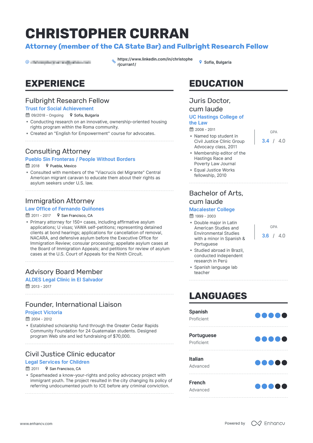 real attorney resume example