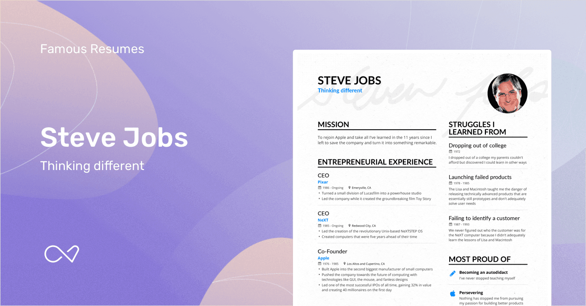 Steve Jobs' CEO resume example is an inspiration, showing how including your struggles and failures can create a resume that really stands out and leaves an impression