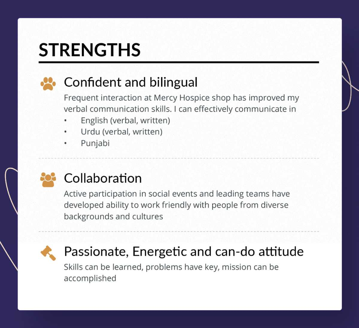 Engineering strengths example