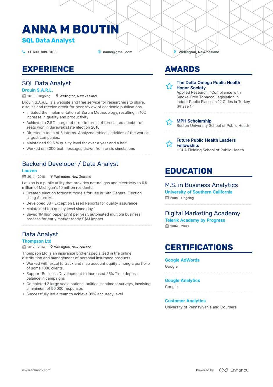 Sql Data Analyst Resume Examples Guide Amp Pro Tips Enhancv